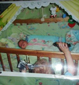 Балдахин,крепление и бортики для детской кроватки