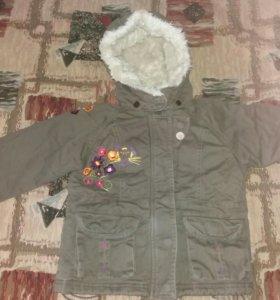Модная оригинальная утеплённая куртка на девочку