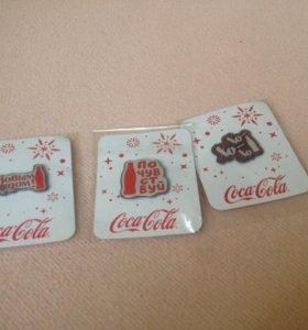 Кока-кола значки 3 штуки в пленке