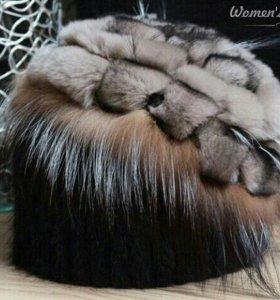 Вязаная шапка из натуральной норки