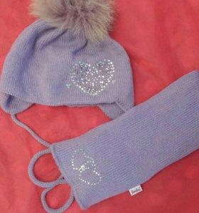Комплект шапка+шарф (1-2 годика)