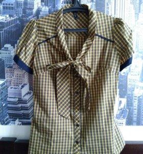 Клетчатая рубашка с коротким рукавом и бантом