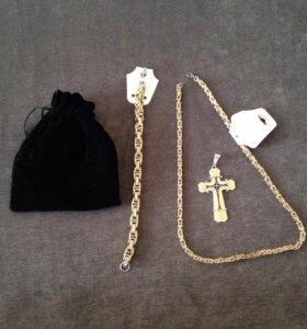 Брутальный комплект: цепь, браслет и крестик