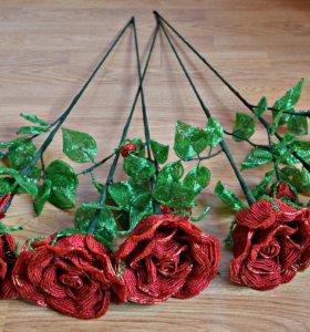 На заказ Из бисера Розы красные