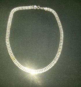Новая цепь мужская с серебряным покрытием