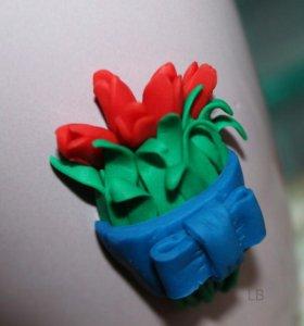 Кружка с ложкой (набор тюльпаны)
