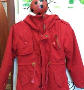 Куртка д девочки с теплой подстежкой+ветровка