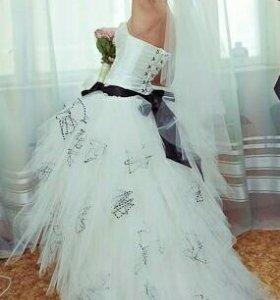 Платье свадебное+фата+шубка