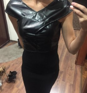 Новое платье с эко-кожей