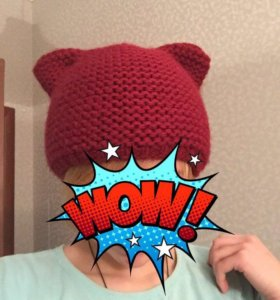 Тёплая шапка с ушками