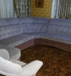 Модульный угловой диван с креслом