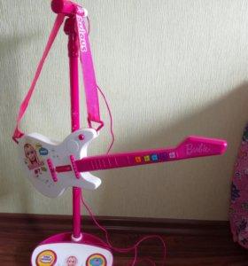 Музыкальная гитара Барби со стойкой для микрофона