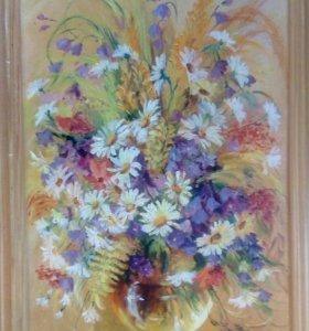 Картина Ромашки и колокольчики (холст, масло)