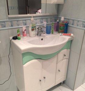 Умывальник для ванной комнаты с зеркалом и шкафамы
