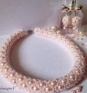 Ожерелье и серьги ручной работы(комплект)