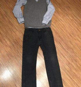 Вещи пакетом.Джинсы+брюки,жилетка +рубашка,свитер