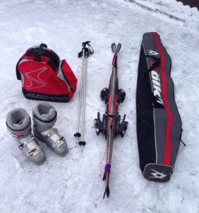 Горные лыжи Volkl,крепления, ботинки, палки