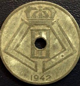 Монета Бельгии, 25 сантимов 1942