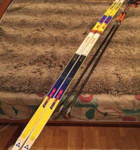 "Лыжи с палками""Fischer"" и ""STC""."