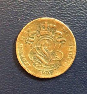 Монета Бельгии, 1 сантим 1901