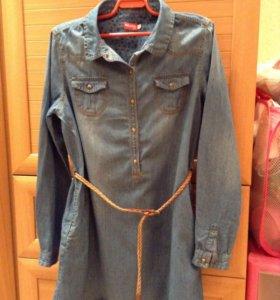 Платье туника джинсовая для девочки 9-12