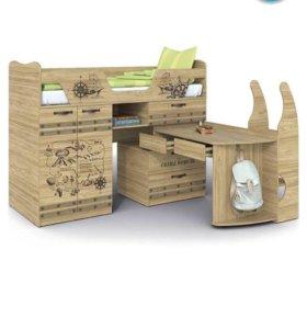 Кровать детская с выдвижным столом Корсар