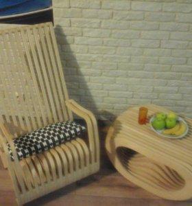 Кресло качалка + кофейный столик