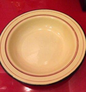 Эмалированная тарелка глубокая желтая из СССР