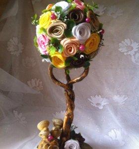 Цветочное дерево - топиарий. Ручная работа.