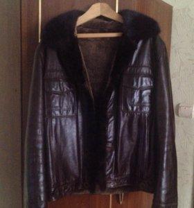 Куртка кожаная мужская с норковым воротником