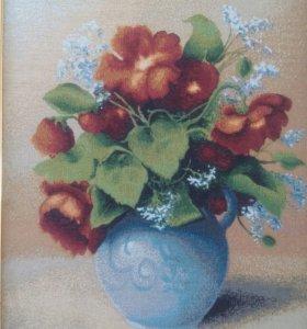 Картина гобелен Ваза с цветами