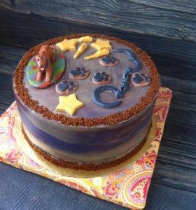 Бисквитный торт с орехом и карамелью для кинолога)