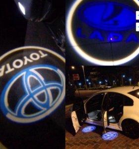 Подсветка двери с логотипом