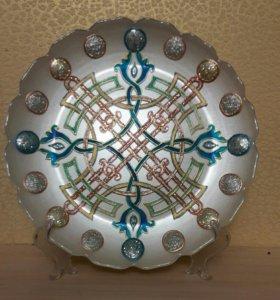 Тарелка декоративная с подставкой