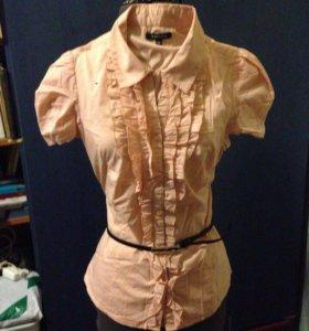 Персиковая блузка рубашка