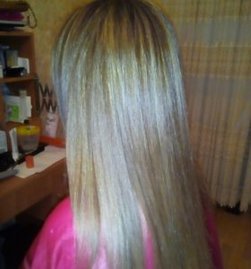 Окрашивание на длинных волосах