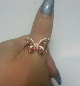 Кольцо бабочка 585