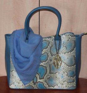 Новая сумка SAVIO,платок,бусы и серьги в тон