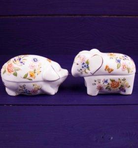 Шкатулки Aynsley в форме слона и свиньи