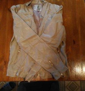 Кожаная куртка женская осень-весна 48-50