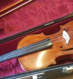Скрипка ручной работы + чехол + смычок + мостик