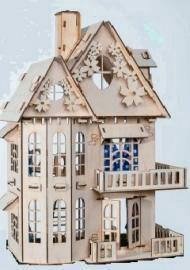 Деревянный домик для кукол с набором мебели.