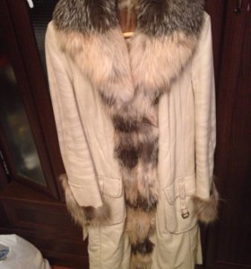 Пальто тёплое кожаное