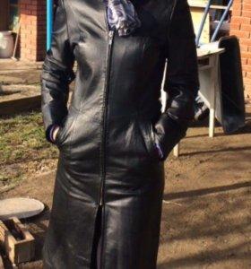 Кожаный Плащь пальто