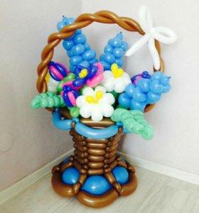 Цветы, букеты и корзины из воздушных шаров