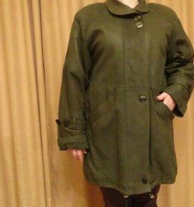 Кожаный плащ-куртка