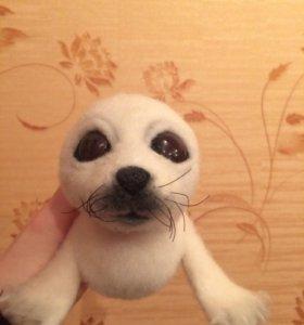 Тюлень, ручная работа, сухое валяние