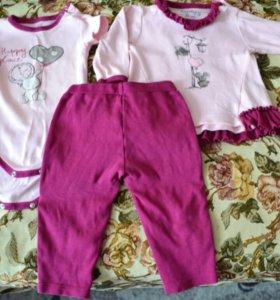 Два комплекта летней одежды + футболка (9-12 мес)