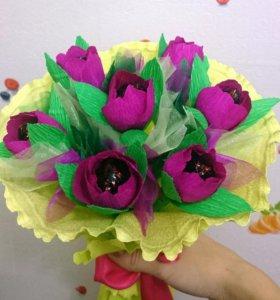 Букет тюльпанов из конфет ручной работы