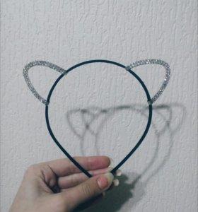 Новые уши ушки кот черные стразы мышка
